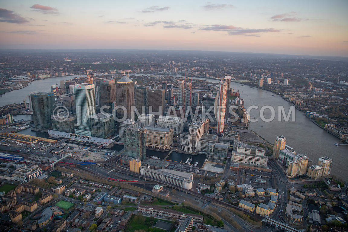 Aerial view of Canary Wharf at dusk, London. Adams Plaza, Adams Plaza Bridge, Aspen Way, Bellmouth Promenade West, Bellmouth ...