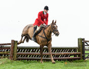 Jake Oppenheim jumping a gate at Stone Lodge. The Cottesmore Hunt at Vickers Farm 12/3