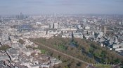 Aerial footage of St. James's, The Mall, and Piccadilly, Westminster, London.