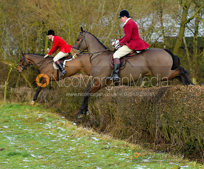 Ollie Finnegan, Rowan Cope jumping a hedge at Walton Thorns