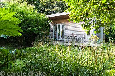 Sara's garden office amongst large clumps of miscanthus, ferns, gunnera and irises. The 'Garten' Garden, Lower Treculliacks F...