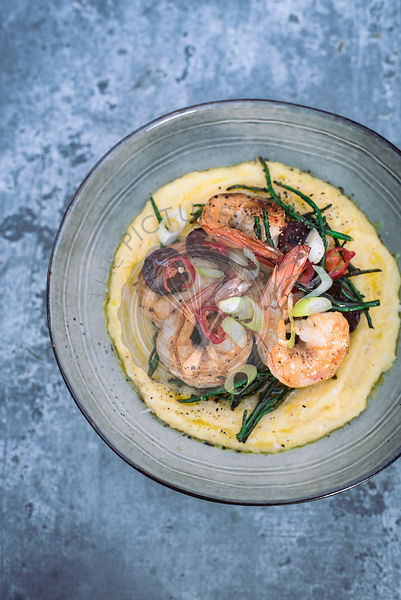 Creamy Polenta with Prawns, Chorizo and Samphire