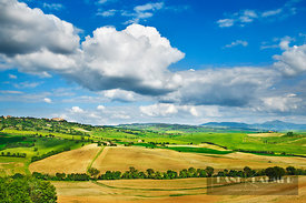 Agricultural landscape and cumulonimnus clouds - Europe, Italy, Tuscany, Siena, Val d'Orcia, Pienza, south of - digital