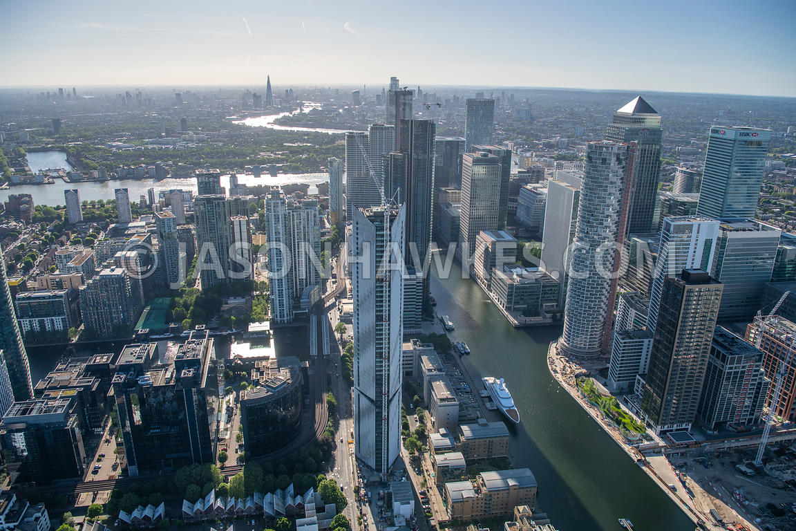 Canary Wharf, London, aerial view.