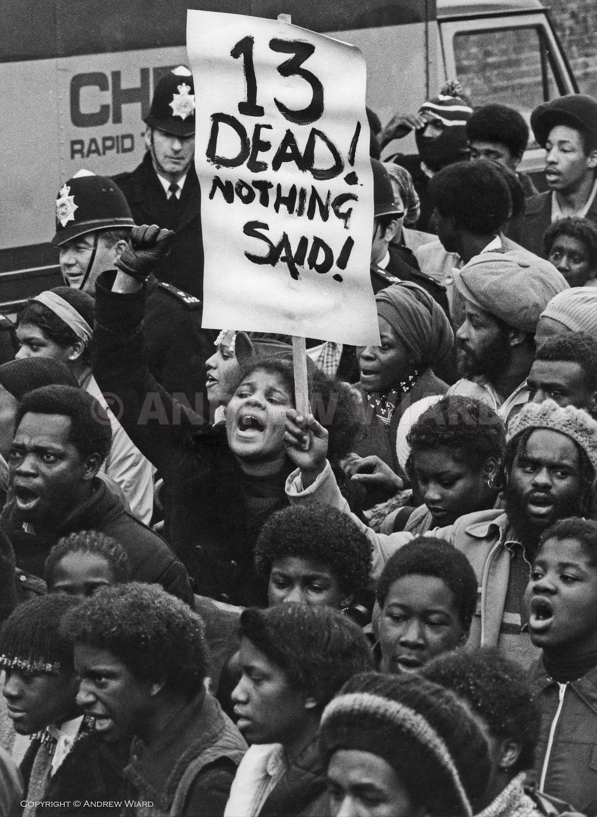 'Black People's Day of Action' march 20,000 strong protesting against indifference to the deaths of thirteen young black peop...
