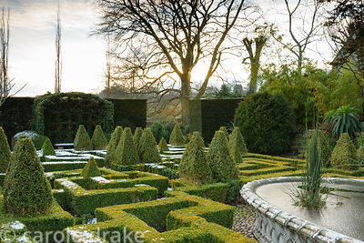 A knot garden of clipped box with variegated box pyramids and a central basketwork pond from the 1851 Great Exhibition in Jan...