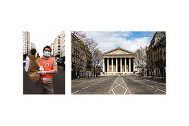 "Paris, France, 21 April 2020. Cyril, a Red Cross volunteer: ""We bring food baskets to vulnerable and isolated people. Sometim..."