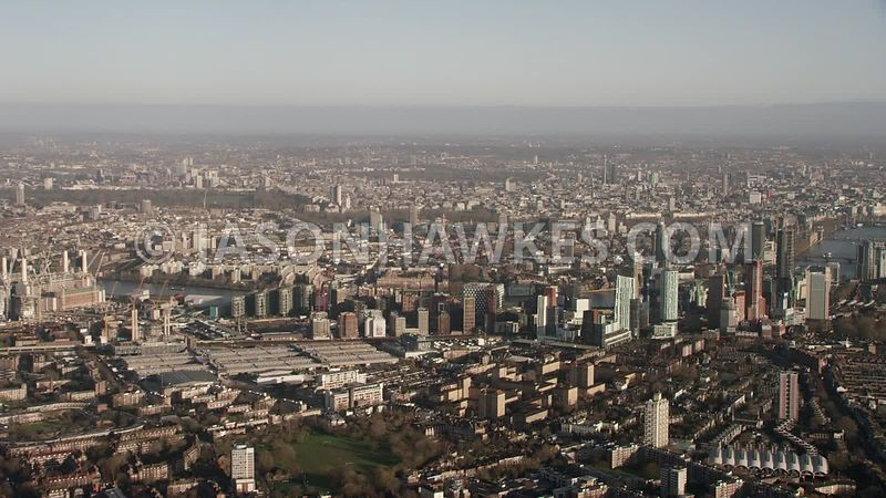 Aerial footage of Nine Elms Battersea, London.