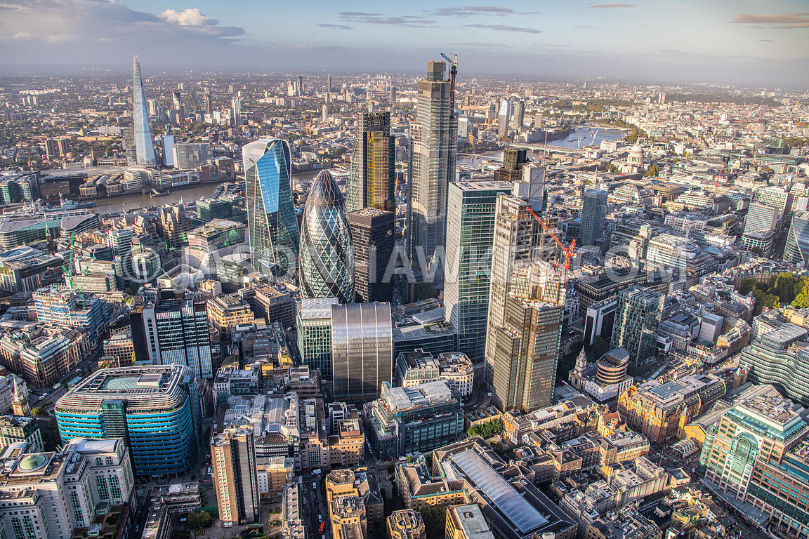 Aerial view of the City of London, London.