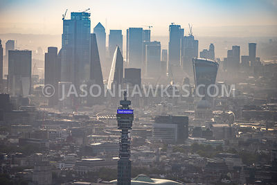 BTTower, aerial view, London.