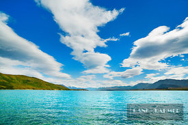 Lake landscape at Lake Tekapo - Oceania, New Zealand, South Island, Canterbury, Mackenzie, Lake Tekapo, Lake Tekapo (Polynesi...