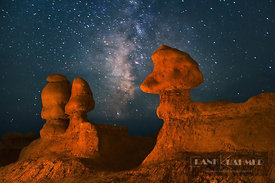 Erosion landscape under star sky in Goblin Valley - North America, USA, Utah, Emery, Goblin Valley (Colorado Plateau, San Raf...