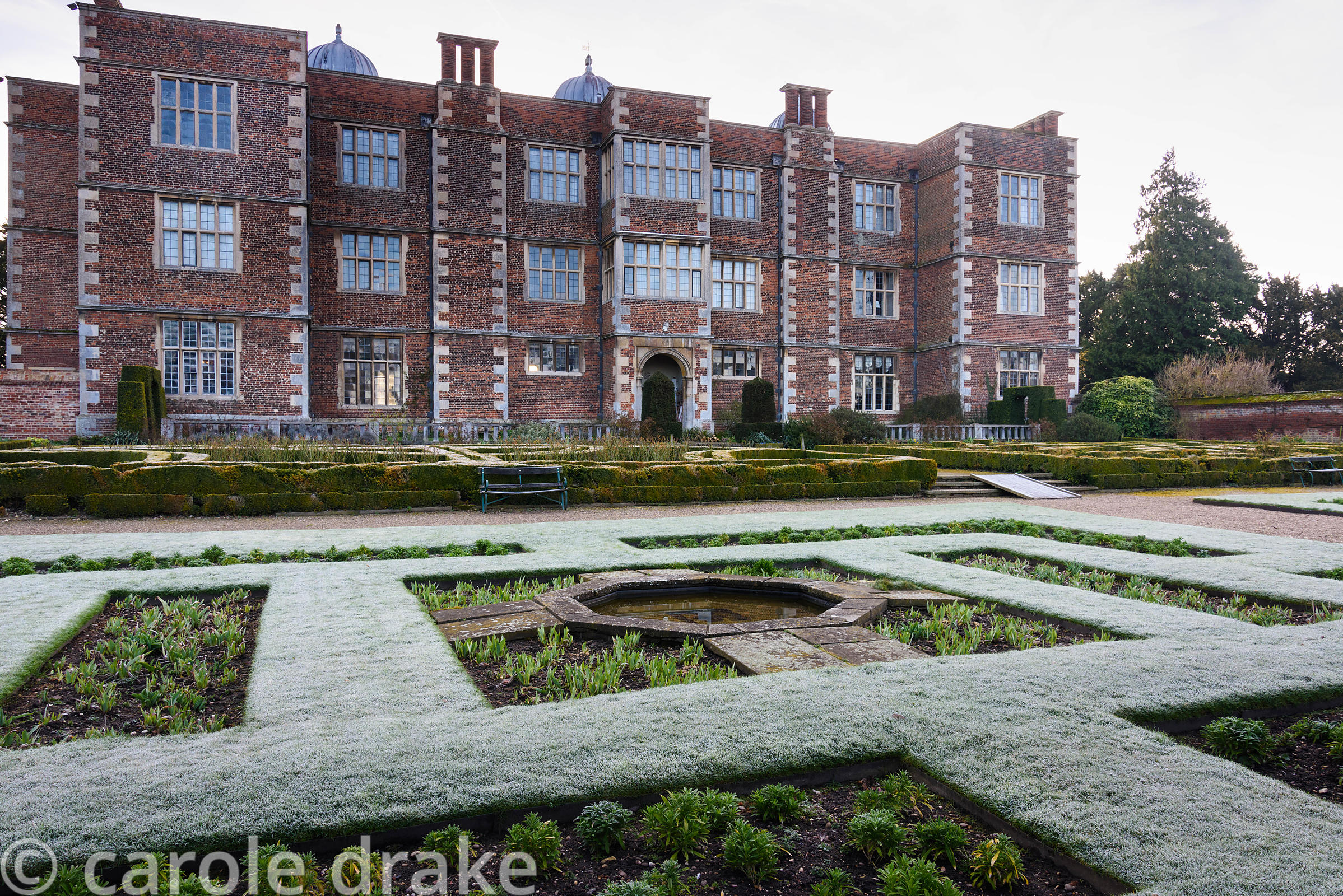The West Garden at Doddington Hall, Lincolnshire on a frosty March morning
