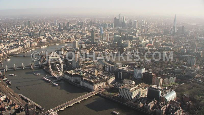 Aerial footage of London Eye,  Waterloo Station, Waterloo,  SouthBank,  Waterloo East,  Tate Modern, London.