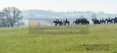 The mounted field at Orton Park. The Cottesmore Hunt at Ladywood Lodge