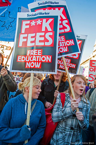 England, UK . 10.11. 2010. London . Students protest against plans to increase tuition fees up to £9,000 and cuts to higher e...