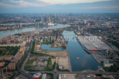 Aerial view of Silvertown, Royal Docks, Excel London, London.