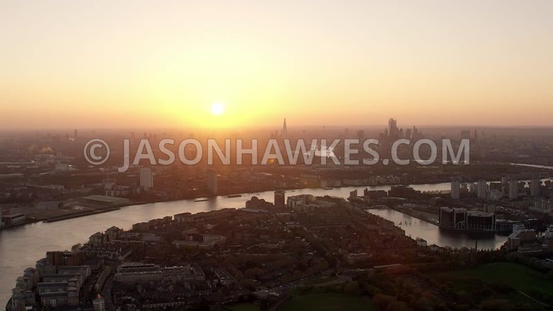 Aerial footage of Millwall Outer Dock, Isle of Dogs, Canary Wharf, Millwall, South Dock, River Thames, Docklands,  London.