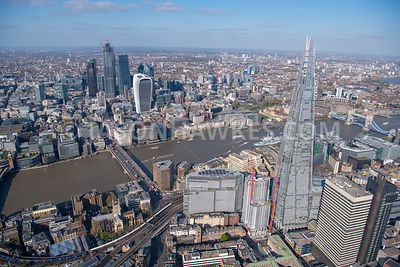 London Bridge, The Shard, Borough, aerial view, London.