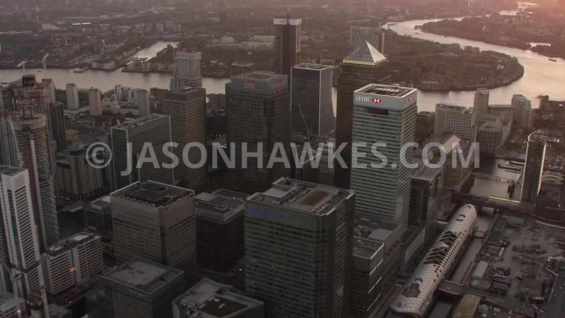 Aerial footage of Canary Wharf, Isle of Dogs, London.
