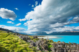 Mountain lake Lake Pukaki and clouds - Oceania, New Zealand, South Island, Canterbury, Mackenzie, Lake Pukaki, north end (Pol...