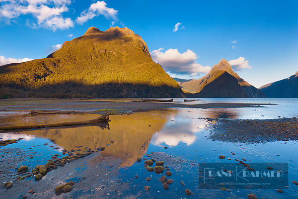 Fjord landscape at Mitre Peak - Oceania, New Zealand, South Island, Southland, Fiordland, Milford Sound (Polynesia, Southern ...