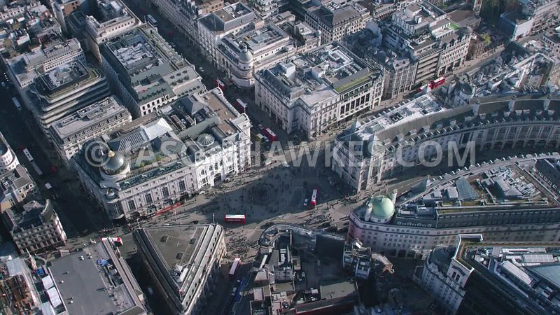 Aerial footage of Piccadilly Circus, London,