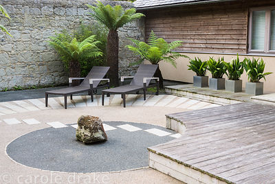 Japanese style courtyard garden beside the house features contrasting surfaces, tree ferns, aspidistras and outdoor furniture...
