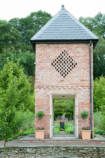 Brick dovecote built in 2007 to echo the barn. Rhodds Farm, Kington, Herefordshire, UK