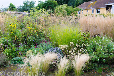 Circular bed planted with a variety of herbaceous perennials and grasses including Stipa tenuissima, Salvia officinalis 'Purp...