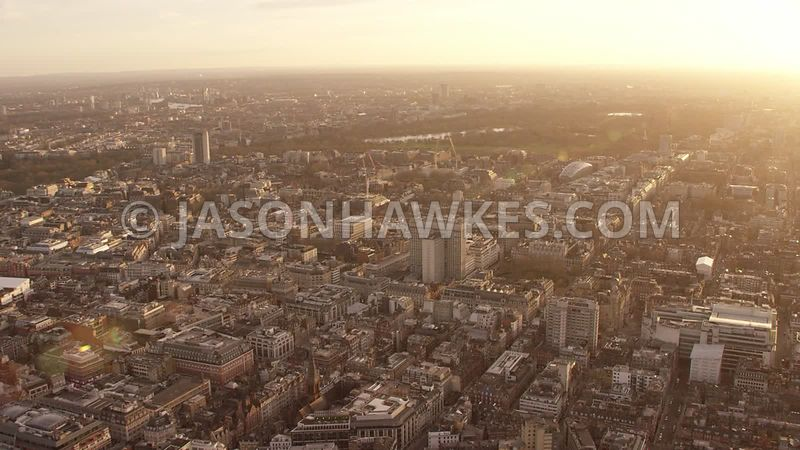 Aerial footage of Regent St, Oxford St, Oxford Circus, West End, Mayfair, Hanover Square, Grosvenor Square, London.