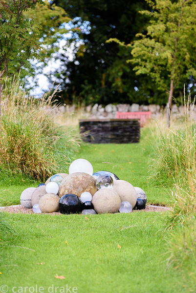 'A Load of Balls', a witty amalgamation of spheres in various materials at Broadwoodside, Gifford, East Lothian