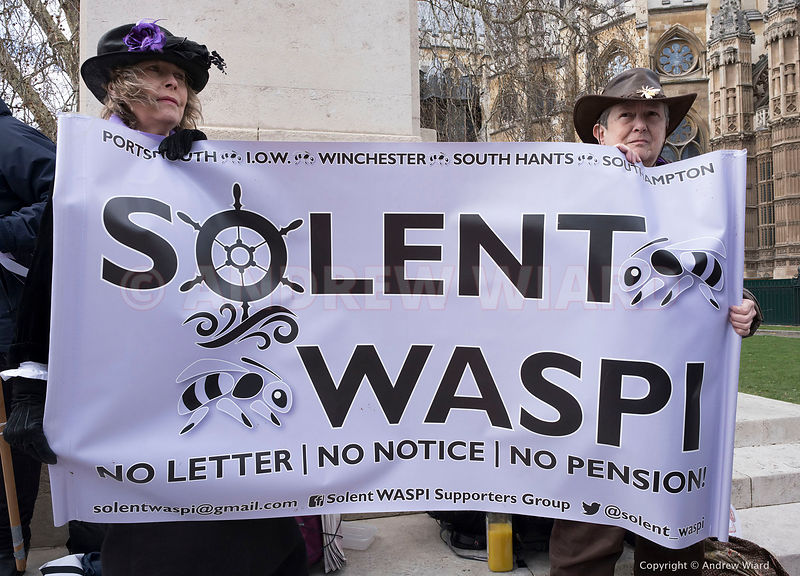 England, UK . 13.3.2019. London . WASPI (Women Against State Pension Injustice) lobby Parliament on the day of the Spring Sta...