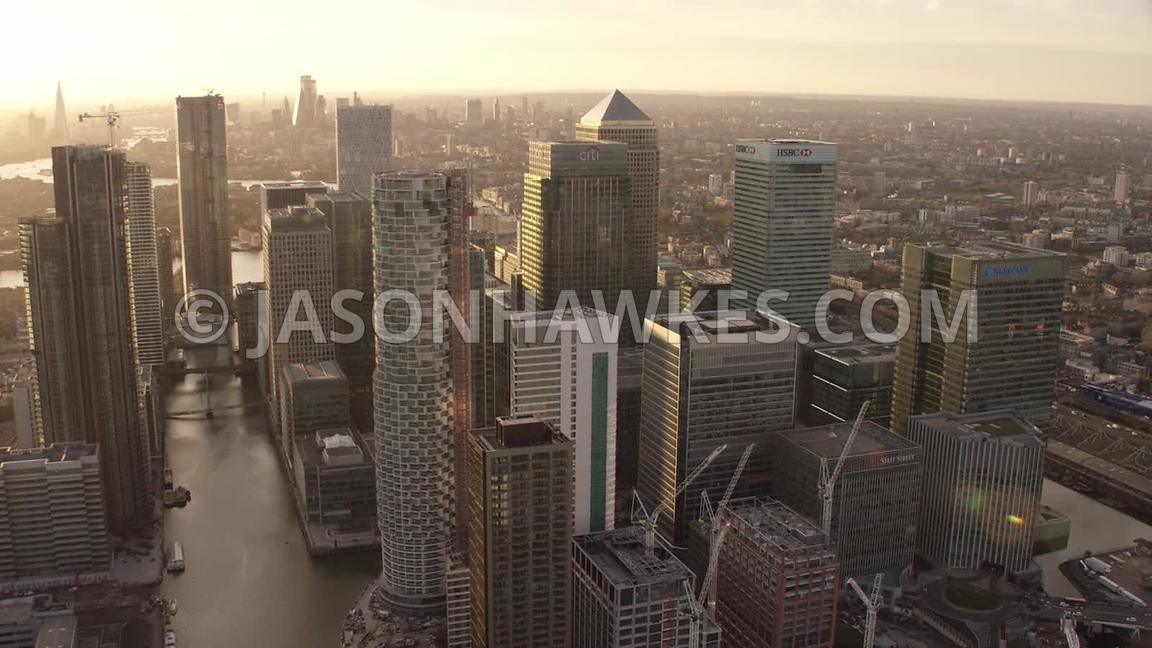 Sunset aerial footage of Canary Wharf, isle of Dogs, London.