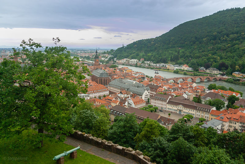 Aerial view over Heidelberg and river Neckar with Old Bridge