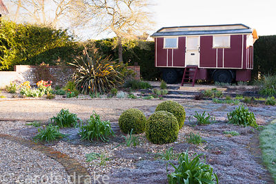 A showman's caravan is positioned at one end of the gravel garden, inset with bricks that draw oval shapes, and planted with ...