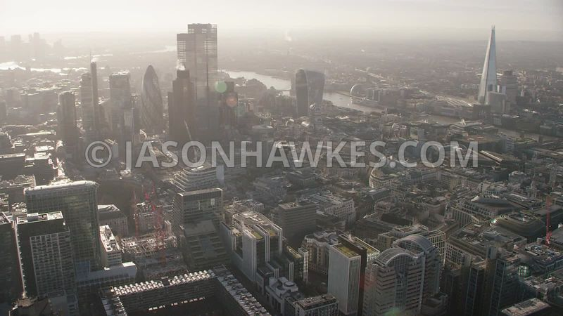 Aerial footage of the City of London, Finsbury Circus,  Moorgate,  Citypoint, London.
