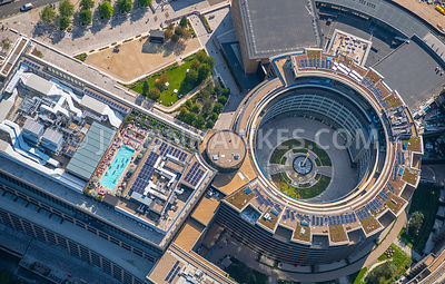 Looking down into Television Centre and the rooftop pool at Soho House, White City, London.