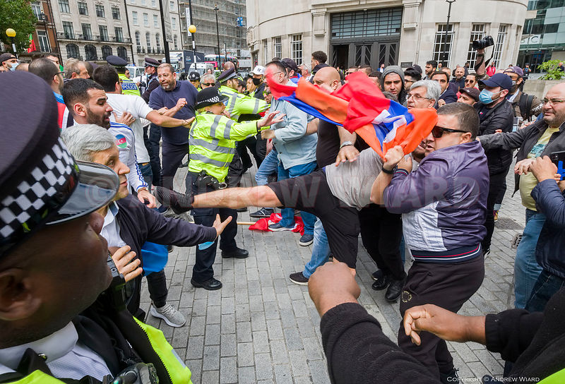 England, UK. 28.7.2020. London. Protest against Armenian military action on the border with Azerbaijan begins to move off ( l...