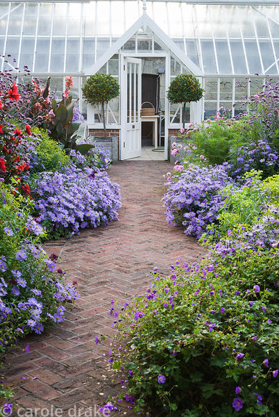 Central brick path in the walled garden is framed with asters, dahlias, euphorbia, Verbena bonariensis and leads to Alitex gr...