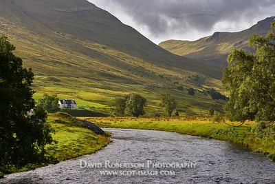 Prints & Stock Image - Isolated house of Moar in Glen Lyon, Perth and Kinross, Scotland
