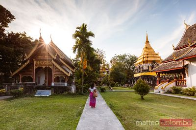 Female tourist at Wat Chiang Man, Chiang Mai, Thailand