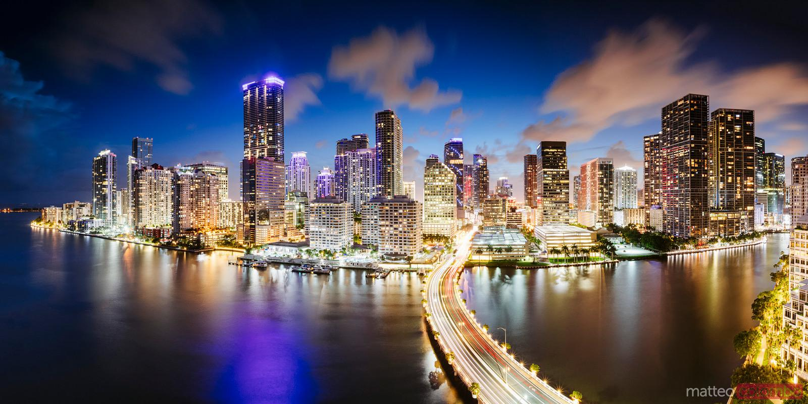 Panoramic of Miami downtown skyline at dusk, Florida, USA