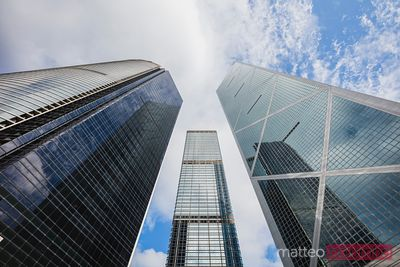 Low angle view of modern towers, Hong Kong