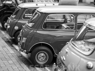 Black and white of classic mini car