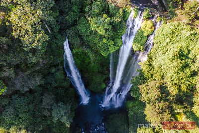 Aerial overhead view of Sekumpul waterfall, Bali