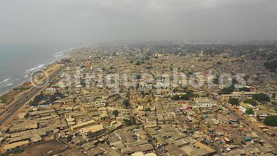 Osu quarter, Accra from above, drone video