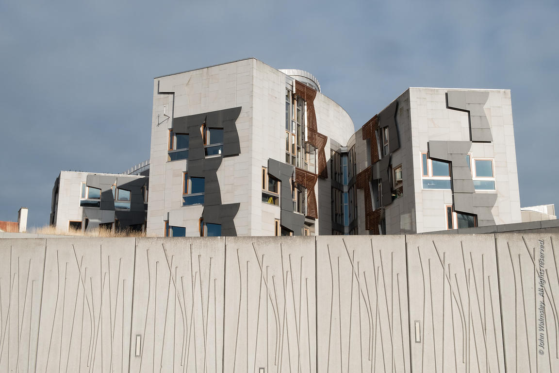 #122358,  Outside wall featuring impressions of wood at the new Scottish Parliament building at Holyrood, Edinburgh.  Designe...