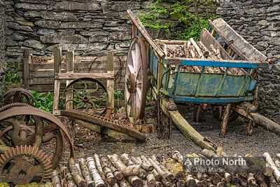 FINSTHWAITE 04A - Old machinery and cart, Stott Park Bobbin Mill