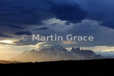 Spectacular light on the Macizo Paine (Paine Massif) from Estancia Laguna Amarga, Parque Nacional Torres del Paine, Patagonia...
